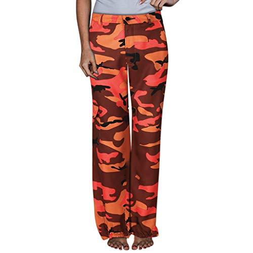 SHINEHUA Dames Camo broek vrijetijdsbroek losse lange afstand sweatpants naaien huidvriendelijke broek zomer locker brede pijpen lange broek strandbroek yogabroek harembroek XX-Large oranje