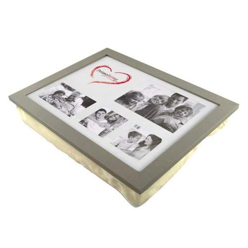 PrimoLiving Knietablett mit Kissen und Fotorahmen grau, ca. 43 x 32,5 x 8 cm