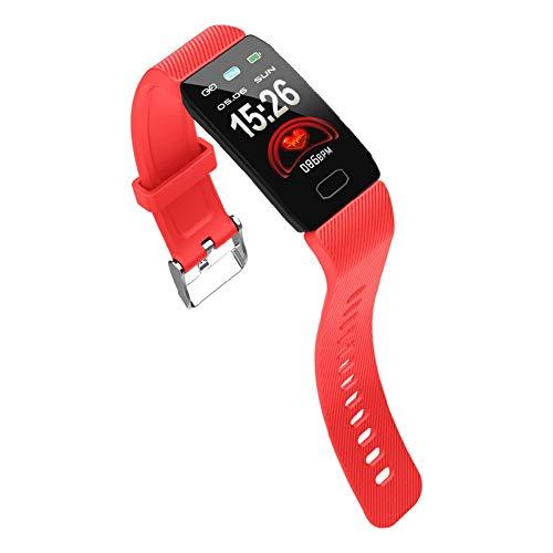 YHDQ Fitness polsband horloge Smart armband, hartslag gezondheid monitoring, kan het branden van calorieën, stappen en slaap, anti-transpirant polsband digitale tracker cadeau voor volwassenen en kinderen Retro size Rood
