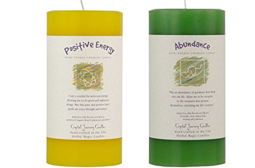 Crystal Journey Reiki Charged Herbal Magic Pillar Candle with Inspirational Labels - Bundle of 2 (Positive Energy, Abundance) Each 6'x3' Handcrafted with Lead-Free Materials