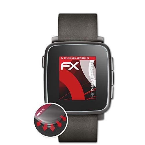 atFoliX Schutzfolie kompatibel mit Pebble Time Steel Folie, entspiegelnde & Flexible FX Bildschirmschutzfolie (3X)