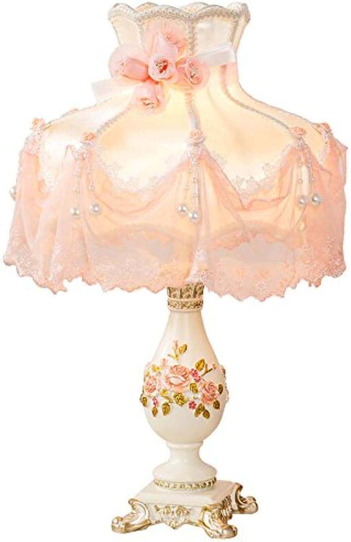 Europische Tischlampe Schlafzimmer Nachttisch Lampe Prinzessin Pastoral Kreative Hochzeit Dekoration Tisch Lampe Dimmer Schalter (Farbe   Beige)