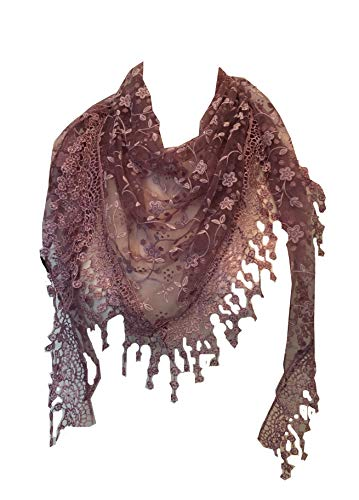 Pamper Yourself Now Lila mit weiße Blume prickelnde Spitze Dreieck Schal mit Spitzenrand (Lilac with white glittery flower lace triangle scarf with lace trim)