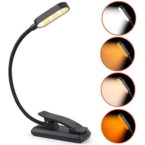 Lampada da lettura Idefair 9 LED USB ricaricabile, lampada da lettura con clip per la cura degli occhi Luce da lettura flessibile con 4 modalità colore 5 livelli di luminosità per la lettura notturna