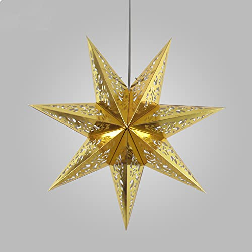 Zi Yang Creativo Estrella Lámpara de Techo nórdico Origami Minimalismo E27 Cuarto Luz de Cama Altura Ajustable Lámpara Colgante Comedor Sala de Estar Cafetería Restaurante Bar Candelabro Ø45cm,Oro