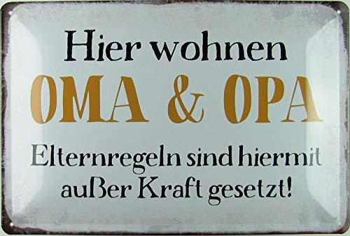 Blechschild 20x30cm gewölbt Hier wohnen Oma & Opa Spruch Humor Sprüche Deko Geschenk Schild