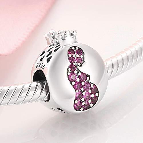 ZSCZQ Dar a luz a la Vida Madre Embarazada 925 Plata de Ley Charm Pink CZ Beads Jewelry Making Fit Original Charms Pulseras