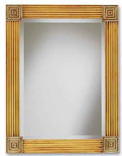 MO.WA Specchio da Parete Stile Impero con Cornice Classica in Legno Finitura Foglia Oro e Argento Anticato. Misura Esterna cm. 65x85. Made in Italy.