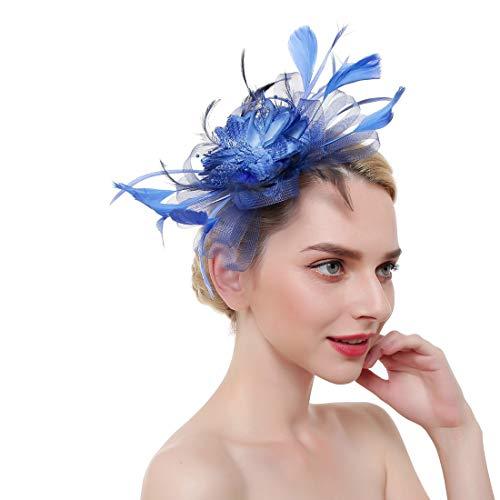 HQQ Accessoire de Cheveux de mariée en épingle à Cheveux Coiffe de Plumes de Fleurs en Tissu Multicolore (Color : Blue)