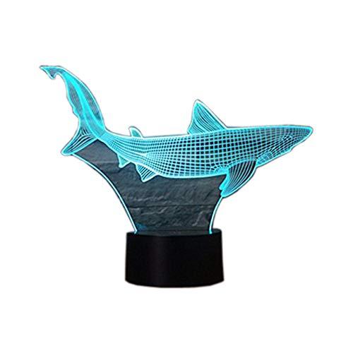 3D Illusion Lampe Neuheit optische LED-Licht 7 Farben ändern Shark Light Touch Switch Tisch Schreibtischlampen für Kinder Schlafzimmer Geburtstag Geschenke