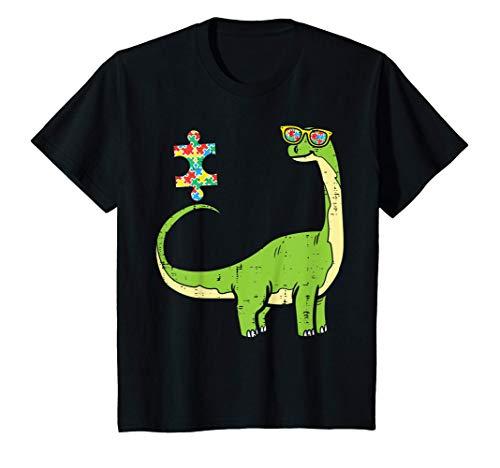 Niños Brontosaurus Puzzle Autism Awareness Long Neck Dinosaur Boys Camiseta