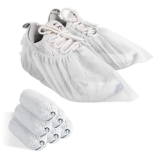 使い捨て靴カバー 不織布 100枚入(50足) Imikoko フリーサイズ 男女兼用 不織布シューズカバー 汚れ 防止 通気性 滑りにくい 静電気防止 環境にやさしい(100枚/50足 ホワイト)