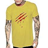 Whyeasy Hauts Pas Chers pour Hommes en Soldes d'été, T-Shirt Extensible Confort, Lettre imprimée Tee-Shirt de Loisirs en Vrac surdimensionné pour Hommes Tee Shirt Blouse(Yellow,XL)