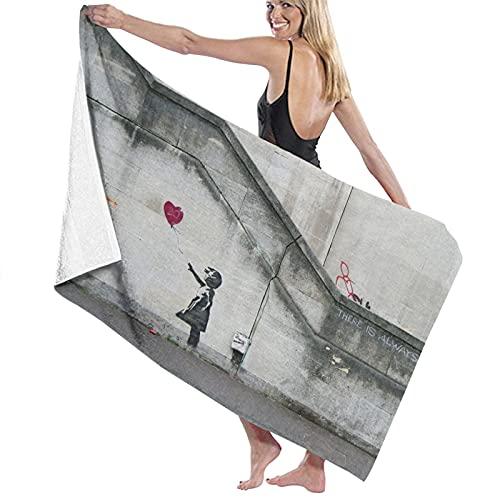 Toalla de Playa de Microfibra de Gran tamaño,Globos de corazón de niña,Toalla de baño Absorbente Suave y Ligera para Nadar, Deportes, Piscina, Gimnasio, Camping (52 × 32 Pulgadas)
