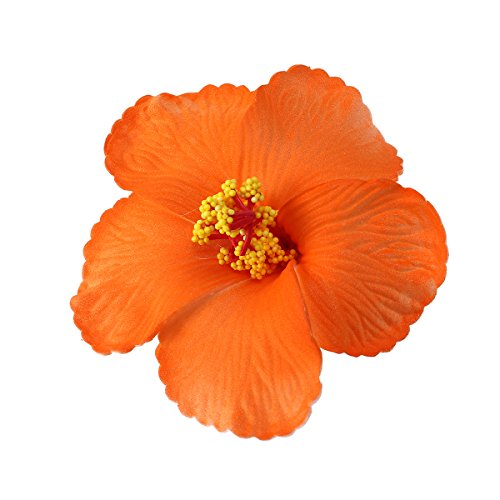 Tinksky Hibiscus Flowers Hawaiian Flowers Artificial Flowers for Tabletop Decoration Party Favors Supplies Wedding Luau Hawaii Party Decoration 1 Pcs (Orange)