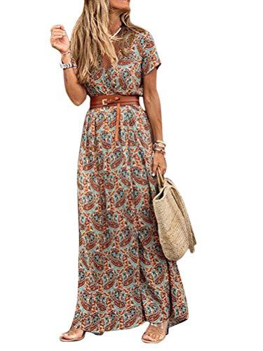 Onsoyours Mujeres Elegante Cuello En V Estampado Floral Maxi Vestido Boho Casual Manga Corta Vestido Larga Vintage Vestido De Playa Fiesta A Marrón M