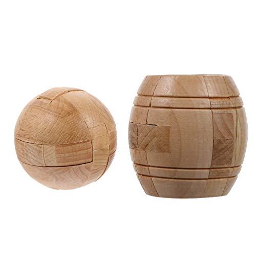 Toyvian 2 peças de madeira Kongming Lock em forma de barril de bola 3D de madeira, brinquedo de teste de QI para o cérebro, presente para adolescentes e adultos crianças