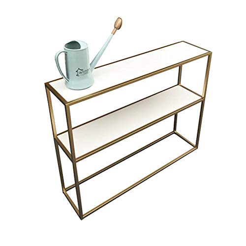 FUFU Coffee Table Marble Console Table, Living Room Storage Table, with Shelf, Storage Rack