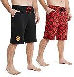 Manchester United F.C. Short Homme, Lot De 2 Shorts en Rouge Et Noir,...