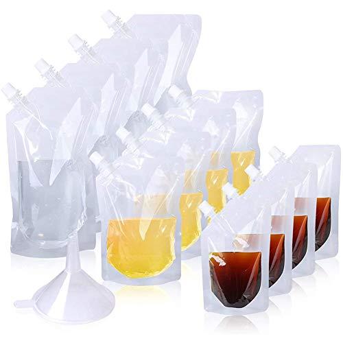 15PCS bolsas transparentes para bebidas, Bolsa para beber,Cantimplora plegable botellas Perfectas para viajes, jugo,puré de frutas, Con embudo (250ml, 350ml, 500ml)
