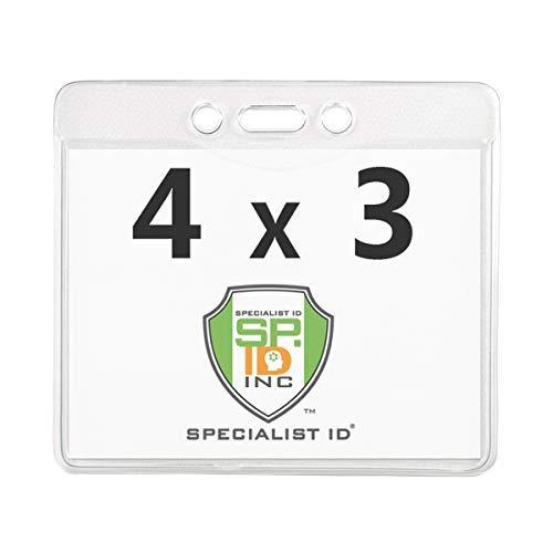 5 Pack - Clear 4X3 Plastic Immunization Card Holder Protector for Flying - Heavy Duty Horizontal Name Tag Lanyard Holder for Printable 4 x 3 Document and ID Badge by Specialist ID