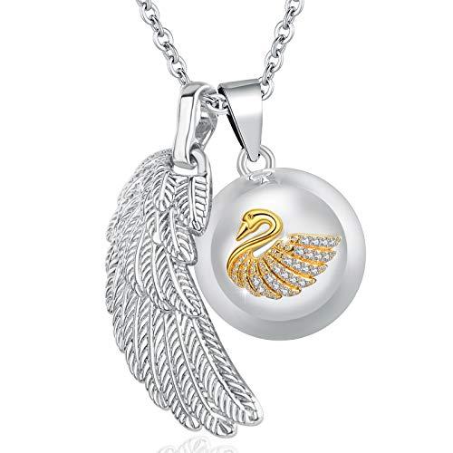EUDORA Harmony Ball Swan Angel Wings Creative Music Wishing Chime Ball Pendant Necklace for Women Ladies Best Jewellry Original Gift, 45inch + 30inch