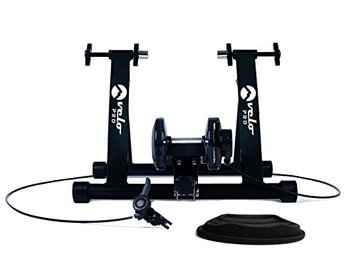 Velo Pro Turbo Trainer | Variable Resistance Magnetic Indoor Bike Trainer for Road & Mountain Bicycles | Stationary Exercise Bike Training Stand | Folding Steel Frame | 26' - 28', 700C Wheels (Black)