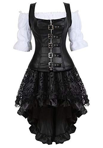 jutrisujo Steampunk Corsagenkleid Leder Corsage Kostüm Reißverschluss asymmetrischer Spitzenrock und Bluse für Halloween Schwarz 4XL