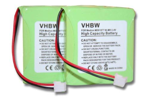 vhbw 2X NiMH Akku Set 600mAh (2.4V) für schnurlos Festnetz Telefon Medion Life S63006, S63008, S63022, Slim 500, X680 wie 5M702BMX, GP0827, GPHP70-R05