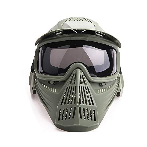 Paintball Mask Airsoft Masks Full Face Tactical Protection Gear with Grey Glasses for Halloween BBS CS Game Costume Accessories Motocross Skiing Green & GreyLens