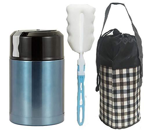 Récipient à vide alimentaire tasse de nourriture d'hiver thermos boîte à Bento en acier inoxydable vide thermos boîte à lunch pour les enfants garçon & Girl 1000ml,Blue