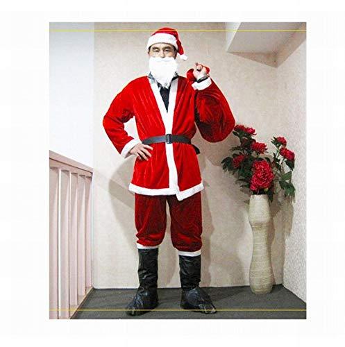 Kerst Kostuum Heren 5 Stuk Set Kerstman Kleding Goud Fluweel Party Prestaties Kostuums, Rood, Een Maat