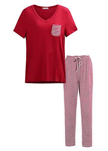 Matt Viggo Pijama Mujer Camisa de Manga Corta Larga Pantalones Largos Rayas Cuello en V,Rojo,XXL