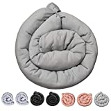 Kookoolon Organic Liner Snake Padded Pillow for Crib and Bed - 79' Organic Cotton Solid Color to Match Any Nursery Design for Boys and Girls - for Undisturbed Sleep. Machine Washable (Solid Grey)