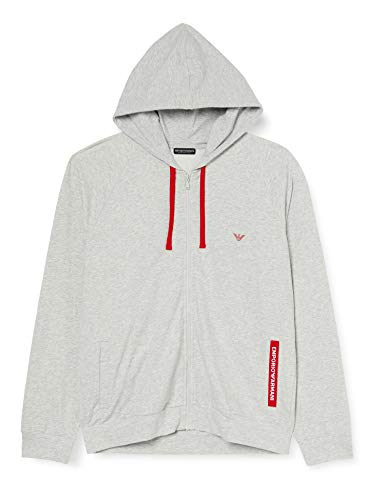 Emporio Armani Underwear Mens Sweater Stretch Terry Hooded Sweatshirt, Melange Grey, XXL
