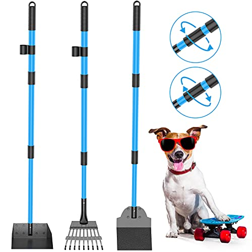 Camroop Dog Pooper Scooper for Large and Small Dogs, Adjustable Telescopic Handle Metal Tray Rake and Spade Poop Scoop Heavy Duty Set for Lawns Grass...