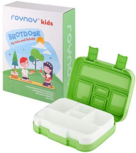 roynoy | Brotdose Kinder | mit Trennwand | Bento Box Kinder | Frühstücksbox | für Kindergarten Kita Schule (grün | Green)