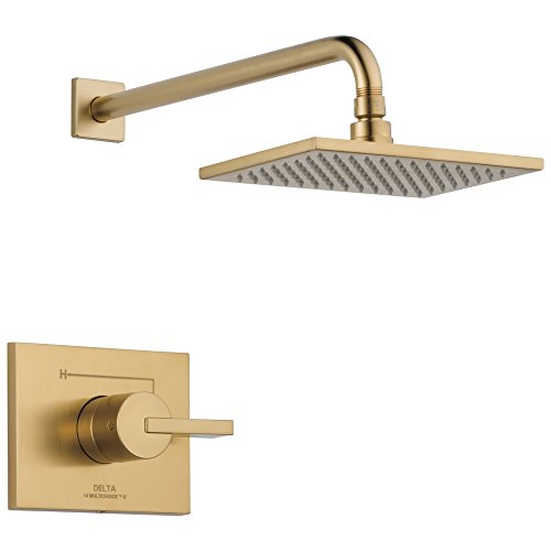 Delta Faucet Vero 14 Series Single-Function Shower Trim Kit with Single-Spray Touch-Clean Rain Shower Head, Champagne Bronze T14253-CZ (Valve Not Included)