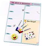 Planificador Semanal Magnético, 4 Rotuladores de Colores, 12 Imanes, 1 Borrador | Calendario Nevera 43x32cm Pizarra Cocina| Organizador Recordatorio Lista de la Compra Menú | Caja regalo (Inglés)