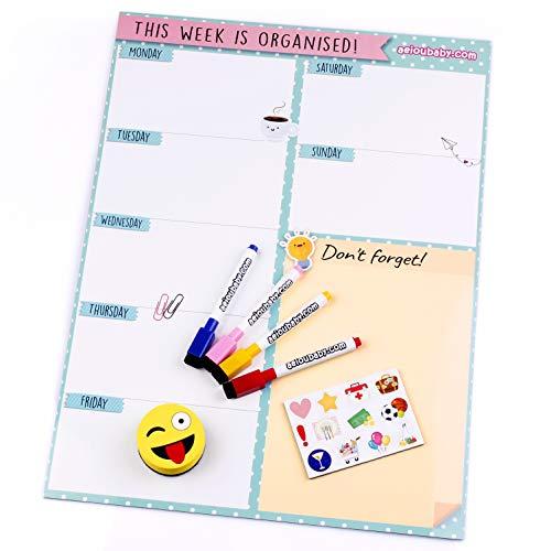Magnetischer Wochenplaner, 4 bunte Marker, 12 Magnete, 1 Tafelschwamm | Kalender Kühlschrank Englisch 43x32cm Wandtafel Küche | Organizer Erinnerung Einkaufsliste Menü | Ideale Geschenkbox