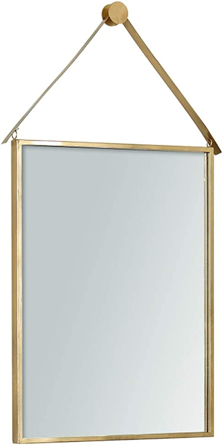 DH JINGZI - Makeup Mirror Mirror Wall-Mounted Hooks Ultra-Clear Rust-Proof Waterproof Bathroom Composed Simple European Rectangular Iron, 2 colors 4 Sizes (color   gold, Size   30x50cm)