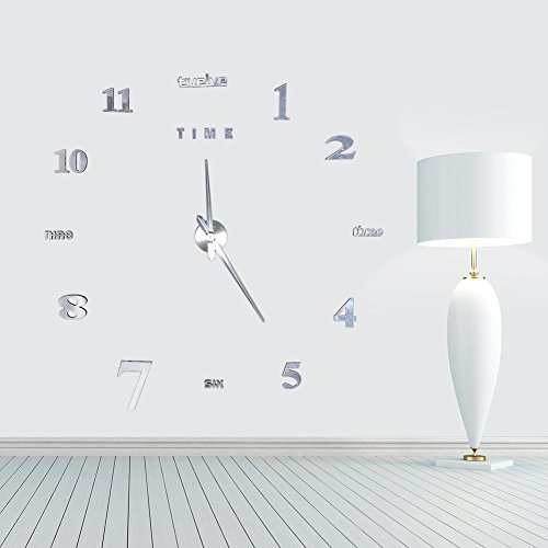 Kit de Reloj de Pared DIY 3D,Etiqueta Engomada de Acrílico del Despertador de DIY de la Moda Color Plata