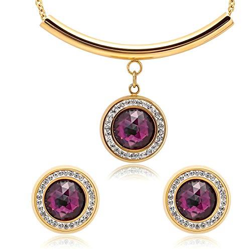 Blisfille Joyería -Conjuntos de Pendientes y Collar Collar Fiesta Negro Mujeres,Oro Purple