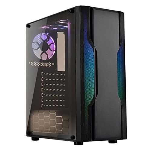 WERTYU Caja de PC Gaming, Ventiladores Incluidos, Panel Cristal Templado Torre Completa De La Caja De La Pc