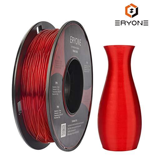 Filament TPU 1.75mm, Eryone TPU Filament 1.75mm, 3D Drucken Filament TPU for 3D Drucker, 0,5 kg 1 Spool, Transparent Rot