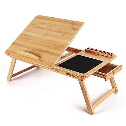 Jiodux Mesa para portátil de bambú Mesa de Cama, Mesa para portátil, Mesa para portátil para Cama, Mesa para portátil, Mesa de Desayuno, Escritorio inclinable