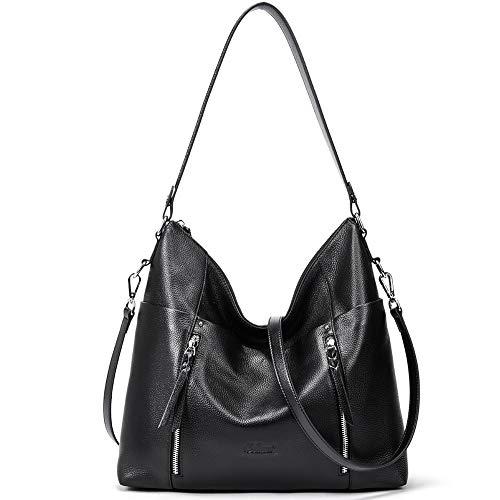 CLUCI Women Soft Genuine Leather Hobo Handbags Top Handle Tote Bag Large Fashion Crossbody Shoulder Bag Black