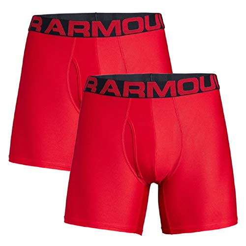 Under Armour Men's Tech 6-inch Boxerjock 2-Pack , Red/Black , Large