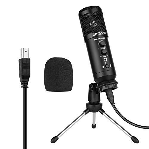 ammoon Microfono a Condensatore USB, Kit Microfono per PC con mini...