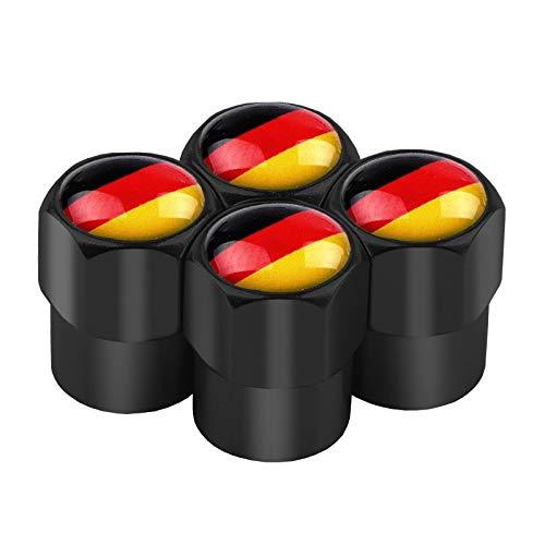 Ldwxxx 4 Teile/Satz Deutschland Flaggezeichen Diebstahlventilkappen Radreifen Stiel Air Caps für Audi für Benz für BMW für Mazda für Ford für Lada Reifen Zubehör (Color : Black Germany)